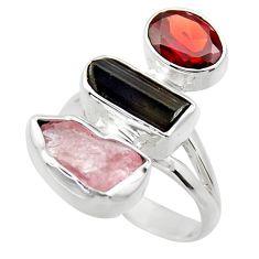 12.96cts natural pink kunzite rough garnet 925 silver ring size 7 r29713