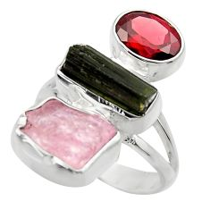 12.52cts natural pink kunzite rough red garnet 925 silver ring size 6 r29717
