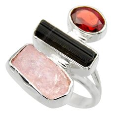 14.63cts natural pink kunzite rough red garnet 925 silver ring size 7 r29716