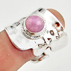 3.24cts natural pink kunzite silver adjustable solitaire ring size 7.5 r21319