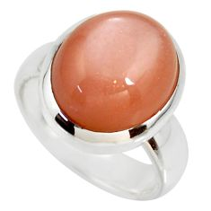 8.28cts natural pink moonstone 925 silver solitaire ring jewelry size 6.5 r34401