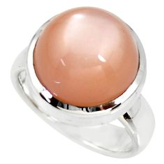 9.48cts natural pink moonstone 925 silver solitaire ring jewelry size 7.5 r34414