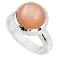 5.63cts natural pink moonstone 925 silver solitaire ring jewelry size 6 r34410