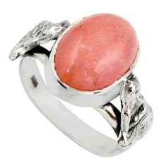 6.32cts natural pink moonstone 925 sterling silver ring jewelry size 7 d46128