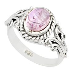 1.99cts natural pink morganite silver solitaire handmade ring size 4.5 r82092