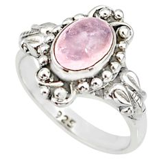 2.13cts natural pink morganite 925 silver solitaire handmade ring size 6 r82066