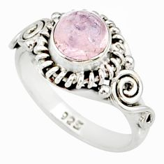 1.29cts natural pink morganite 925 silver solitaire handmade ring size 6 r82078