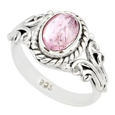 2.00cts natural pink morganite 925 silver solitaire handmade ring size 7 r82095