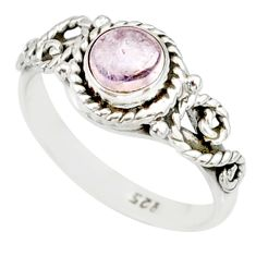 1.45cts natural pink morganite 925 silver solitaire handmade ring size 8 r82070