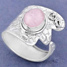 4.22cts natural pink morganite 925 sterling silver adjustable ring size 9 r63457