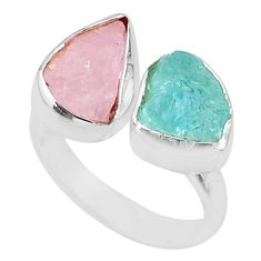 9.16cts natural pink morganite rough 925 silver adjustable ring size 6.5 t36726
