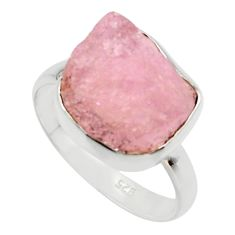 6.57cts natural pink morganite rough 925 silver solitaire ring size 8.5 r48997