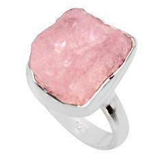 7.03cts natural pink morganite rough 925 silver solitaire ring size 6 r48994
