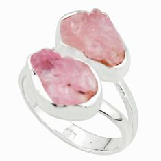 10.78cts natural pink morganite rough 925 sterling silver ring size 7.5 r38285