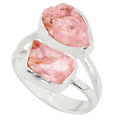 9.16cts natural pink morganite rough 925 sterling silver ring size 6 r38287