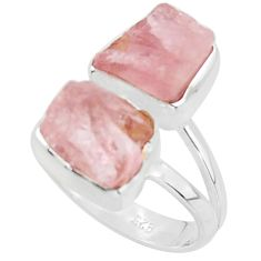 10.02cts natural pink morganite rough 925 sterling silver ring size 6 r38291