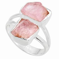 8.71cts natural pink morganite rough 925 sterling silver ring size 6 r38293