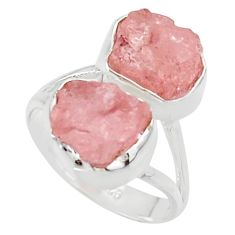 10.32cts natural pink morganite rough 925 sterling silver ring size 6 r49079