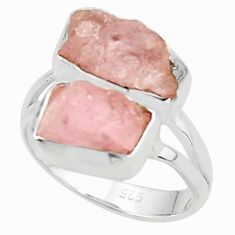 9.61cts natural pink morganite rough 925 sterling silver ring size 7 r38297