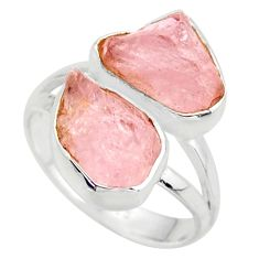 10.31cts natural pink morganite rough 925 sterling silver ring size 7 r38299