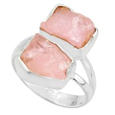 11.23cts natural pink morganite rough 925 sterling silver ring size 8 r38298