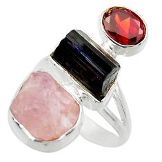 16.43cts natural pink morganite rough garnet 925 silver ring size 8 r29724