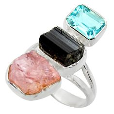 15.16cts natural pink morganite rough topaz 925 silver ring size 7 r29730