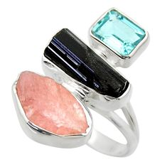 16.92cts natural pink morganite rough topaz 925 silver ring size 8 r29728
