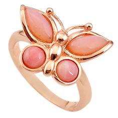 Natural pink opal 925 silver 14k rose gold butterfly ring size 8.5 a68202 c15163