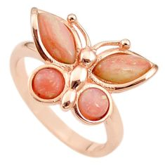 Natural pink opal 925 silver 14k rose gold butterfly ring size 8.5 a68210 c15165