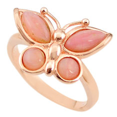 Natural pink opal 925 silver 14k rose gold butterfly ring size 9.5 a68211 c15170