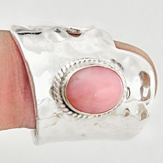 4.70cts natural pink opal 925 silver adjustable solitaire ring size 8.5 r21285