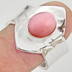 4.52cts natural pink opal 925 silver adjustable solitaire ring size 8.5 r21287