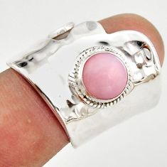 3.28cts natural pink opal 925 silver adjustable solitaire ring size 8 r21297