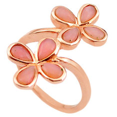 Natural pink opal 925 sterling silver 14k gold ring jewelry size 8 a68245 c15058