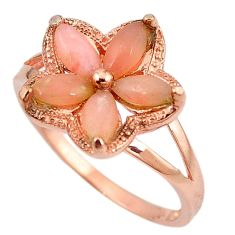 Natural pink opal 925 sterling silver 14k rose gold ring size 9.5 a59085 c15069