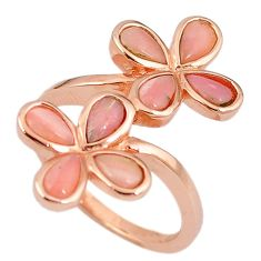 Natural pink opal 925 sterling silver 14k rose gold ring size 7.5 a59131 c15056
