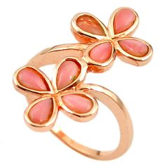 Natural pink opal 925 sterling silver 14k rose gold ring size 8.5 a68228 c15048