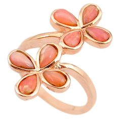 Natural pink opal 925 sterling silver 14k rose gold ring size 7 a68238 c15057