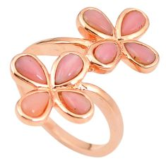 Natural pink opal 925 sterling silver 14k rose gold ring size 7 a76312 c15059