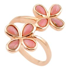 Natural pink opal 925 sterling silver 14k rose gold ring size 9 a68233 c15047