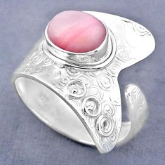 4.22cts natural pink opal 925 sterling silver adjustable ring size 10.5 r63254
