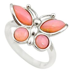 Natural pink opal 925 sterling silver butterfly ring size 7 a68258 c15164