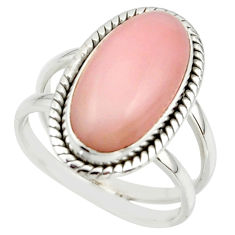6.19cts natural pink opal 925 sterling silver ring jewelry size 7.5 r42249