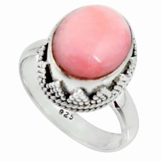 5.11cts natural pink opal 925 sterling silver solitaire ring size 7.5 r22019