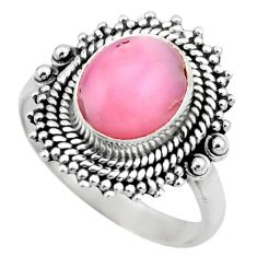 4.03cts natural pink opal 925 sterling silver solitaire ring size 7.5 r53121