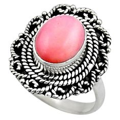 4.03cts natural pink opal 925 sterling silver solitaire ring size 6.5 r53122