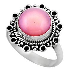 5.11cts natural pink opal 925 sterling silver solitaire ring size 7.5 r53127