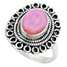 4.22cts natural pink opal 925 sterling silver solitaire ring size 8.5 r53128