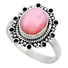 3.98cts natural pink opal 925 sterling silver solitaire ring size 8.5 r53134